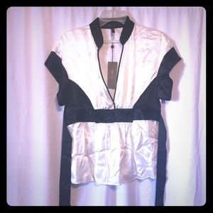 BCBG Black & White Dress Blouse